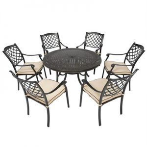 Fiji 7 Piece Cast Aluminium Outdoor Round Dining Table Set