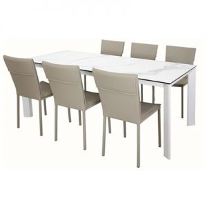Madrid 7 Piece Ceramic Glass Top Dining Table Set, 200cm