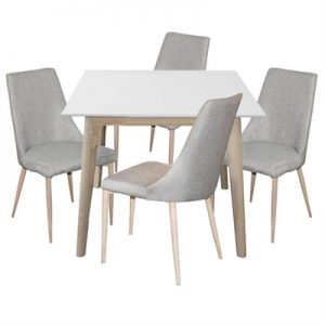 Otta 5 Piece Square Dining Table Set, with Kingsley Fabric Chair, 90cm
