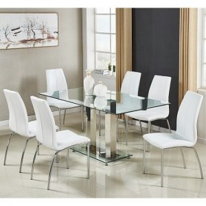 Jet Large Glass Dining Table In Clear And 6 Opal White Chairs