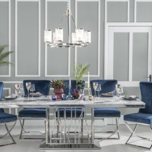 Barner Grey Marble and Stainless Steel Chrome Dining Table with Avila Tufted Back Blue Fabric Chairs