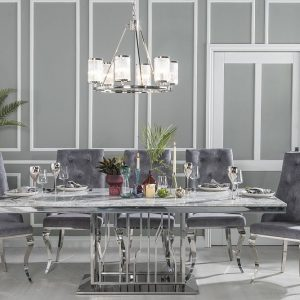 Barner Grey Marble and Stainless Steel Chrome Dining Table with Casey Grey Fabric Knockerback Chairs