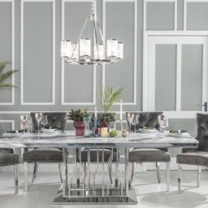 Barner Grey Marble and Stainless Steel Chrome Dining Table with Ellie Grey Velvet Knockerback Chairs