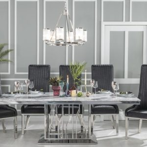 Barner Grey Marble and Stainless Steel Chrome Dining Table with Maive Black Faux Leather Chairs