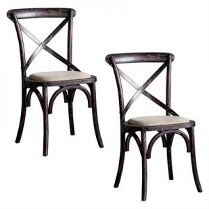 Braston Cross-Back Dining Chair, Black (Set of 2)