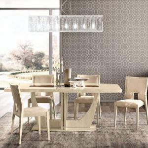 Camel Ambra Ivory Italian Large Extending Dining Table and 6 Brown Rombi Chairs