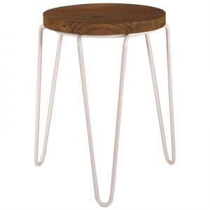 Cameron Commercial Grade Elm Timber & Iron Tripod Stool, White