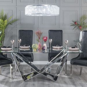 Corran Glass and Stainless Steel Chrome Dining Table with Maive Black Faux Leather Chairs