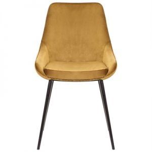 Domo Commercial Grade Velvet Fabric Dining Chair, Mustard