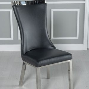 Helly Black Faux Leather Dining Chair