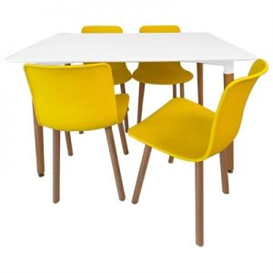 Heme 5 Piece Dining Table Set, 120cm, with Yellow Heme Chair