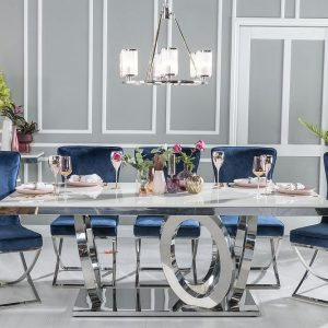 Hyde Cream Marble and Stainless Steel Chrome Dining Table with Avila Tufted Back Blue Fabric Chairs