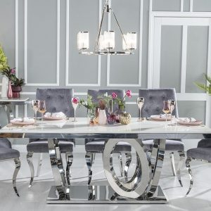 Hyde Cream Marble and Stainless Steel Chrome Dining Table with Casey Grey Fabric Knockerback Chairs