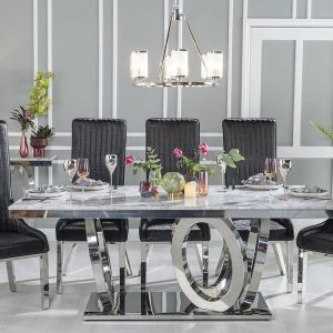 Hyde Grey Marble and Stainless Steel Chrome Dining Table with Maive Black Faux Leather Chairs