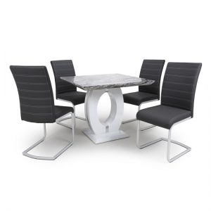 Neville Square Marble Effect Dining Table With 4 Black Chairs