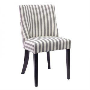 Ophelia Linen Upholstered Solid Timber Dining Chair - Thin Stripe