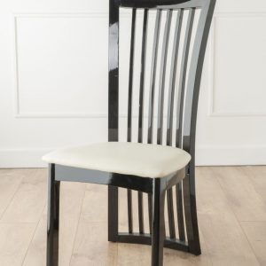 Palermo Black Gloss Slatted Back Dining Chair