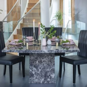 Prague Black Marble 140cm Square Dining Set with Nova Black High Back Chairs