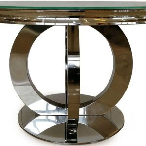 Vida Living Orion White Glass Top Round Fixed Top Dining Table - 130cm