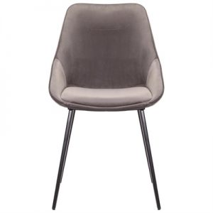 Bellagio Commercial Grade Velvet Fabric Dining Chair, Grey