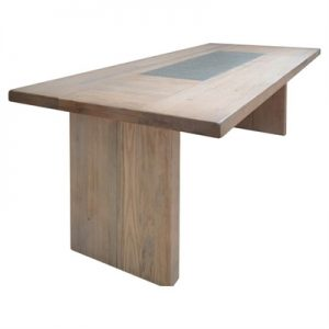 Enrifield Mountain Ash Timber Dining Table, Stone Inlaid Top, 200cm