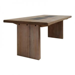 Enrifield Mountain Ash Timber Dining Table, Tile Inlaid Top, 200cm