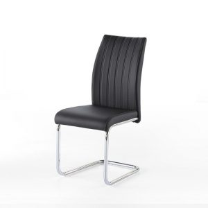 Riva Dining Chair In Black Faux Leather With Chrome Base