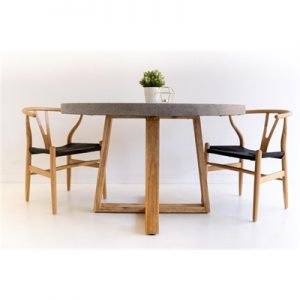 1.0m Antwerp Round ElkStone Dining Table - Speckled Grey & Light Honey Legs
