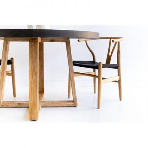 1.2m Antwerp Round ElkStone Dining Table | Black & Light Honey