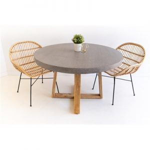 1.2m Antwerp Round ElkStone Dining Table - Speckled Grey & Light Honey Legs