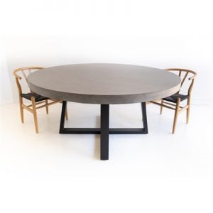 1.6m Antwerp ElkStone Round Dining Table - Speckled Grey With Black Powder Coated Iron Legs