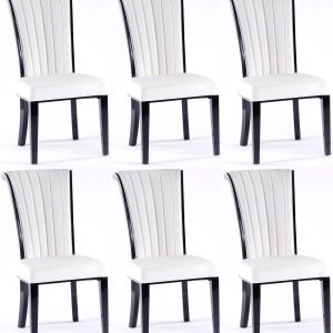 6 x Urban Deco Cadiz White Faux Leather Dining Chair