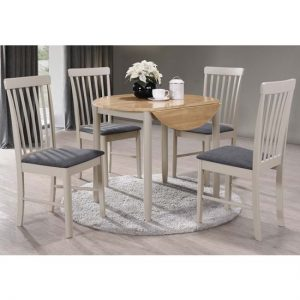 Alcor Round Drop Leaf Dining Set With 4 Chairs