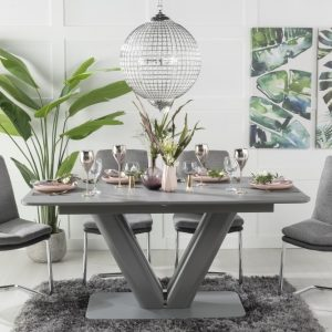 Buy Urban Deco Panama Grey Glass 160-200cm Dining Table with 4 Tucson Grey Chairs and Get 2 Extra Chairs Worth £178 For FREE
