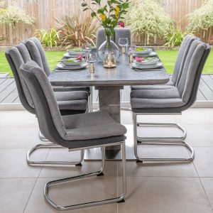 Buy Urban Deco Rimini Ceramic Effect Black Glass 160-200cm Dining Table with 4 Tucson Grey Chairs and Get 2 Extra Chairs Worth £178 For FREE