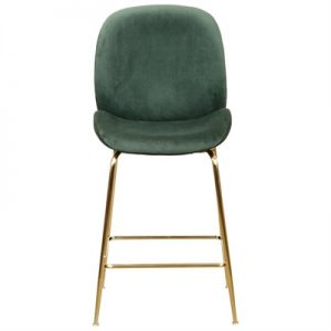 Caike Velvet Fabric Counter Stool, Emerald / Gold