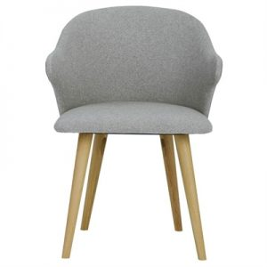 Ceyla Fabric Dining Chair, Light Grey / Oak