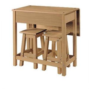 Corina Drop Leaf Dining Set In Oak With 2 Stools