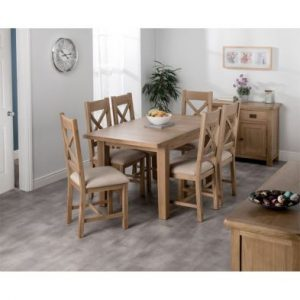 Cotswold Medium Dining Table Set With 6 Cross Back Chairs