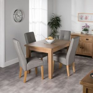 Cotswold Small Dining Table Set With 4 Grey Milan Chairs