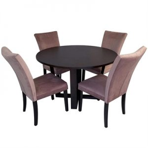Daniella 5 Piece Round Dining Table Set, 120cm, with Blush Carra Chair