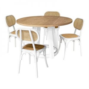Havana 5 Piece Rubber Wood Round Dining Table Set, 120cm, with Lima Chair