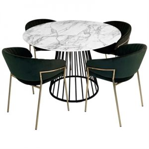 Liverpool 5 Piece Round Dining Table Set, 110cm, with Green Lex Chair, White Top
