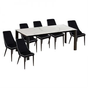 Lunar 7 Piece Ceramic Top Dining Table Set, 200cm, with Carina Chair