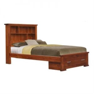 Marni Pine Timber Bookcase Bed with End Drawer, King Single
