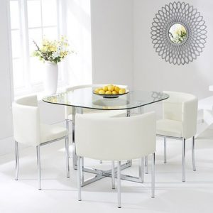 Ophiuchus Stowaway Dining Set With 4 Cream Dining Chairs