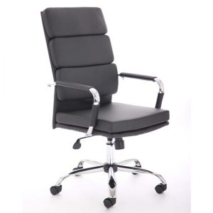 Advocate Leather Executive Office Chair In Black With Arms