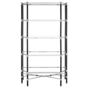 Allessi Clear Glass Bookcase In Silver And Chrome With 5 Shelves