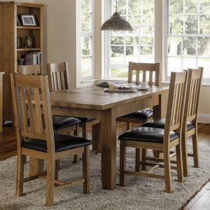 Astoria Extending Dining Set In Waxed Oak With 6 Chairs