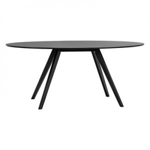 Carol Wooden Oval Dining Table, 180cm, Black